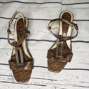 Croc Embossed Real Leather Wedge Sandal Size 9
